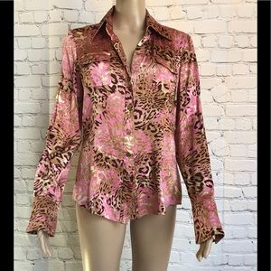 Cache silk blouse in gold and pink animal print.